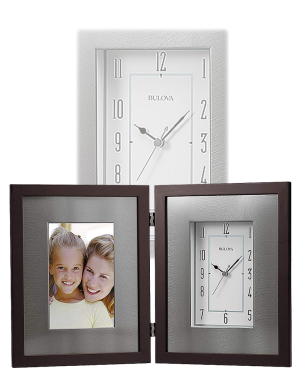 Bulova Winfield Aluminum & Wood Picture Frame Desk Clock