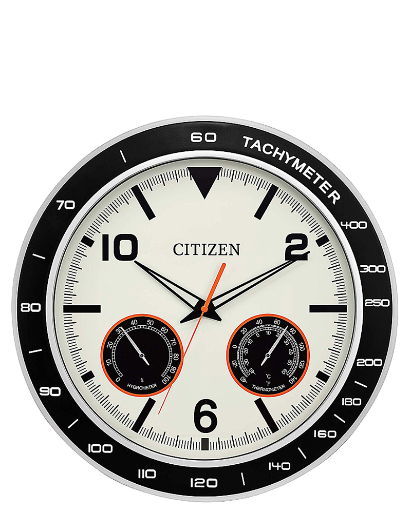 Citizen Outdoor Black And Silver Water-Resistant Clock