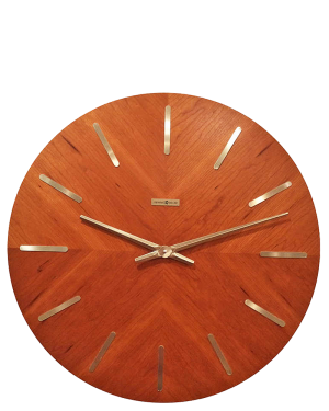 Howard Miller Mid Century Modern Teak Large Wall Clock