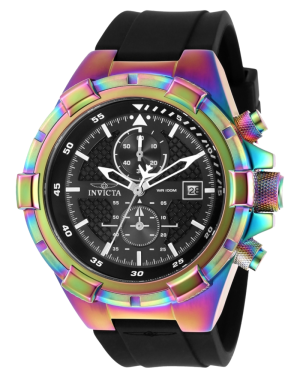 Invicta Aviator Rainbow Case with Black Dial Mens Quartz Watch