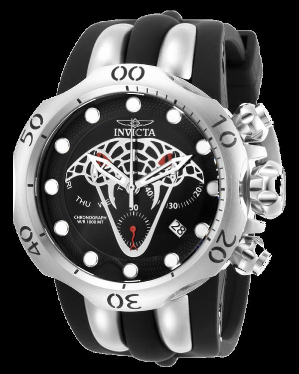 Invicta Venom Mens Quartz Watch 53.7mm Stainless Steel Case Black, Silver Dial