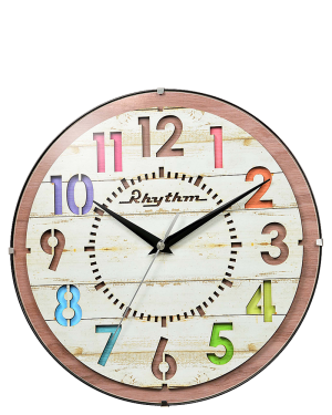 Rhythm Dazzle Wooden Wall Clock