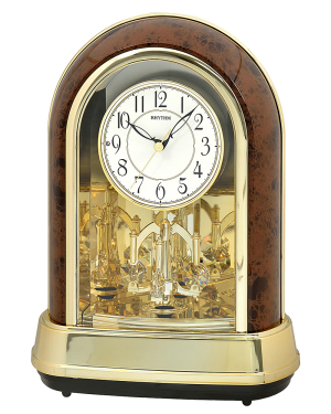 Rhythm Crystal Dulcet II Woodgrain Musical Mantel Clock