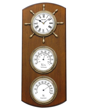 Rhythm Starboard Wall Clock with Hygrometer and Themometer