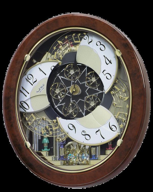 Rhythm Woodgrain Stars Musical Magic Motion Wall Clock