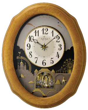 Rhythm Timecracker Golden Oak II Musical Magic Motion Wall Clock