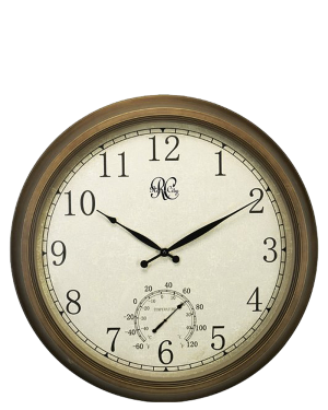 """River City 24"""" Indoor/Outdoor Clock with Time and Temperature"""