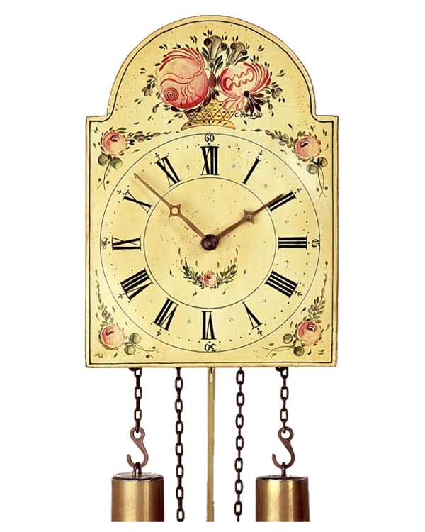 Hönes Hand-Painted Mechanical Wall Shield Clock