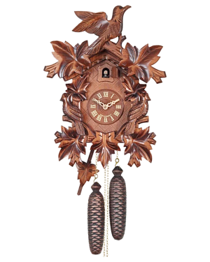 Engstler 8-Day Carved Cuckoo Clock Bird and Leaf