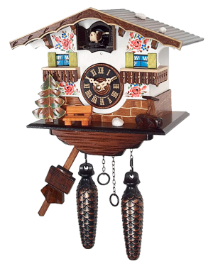 River City White Cottage Musical Cuckoo Clock with 12 Melodies