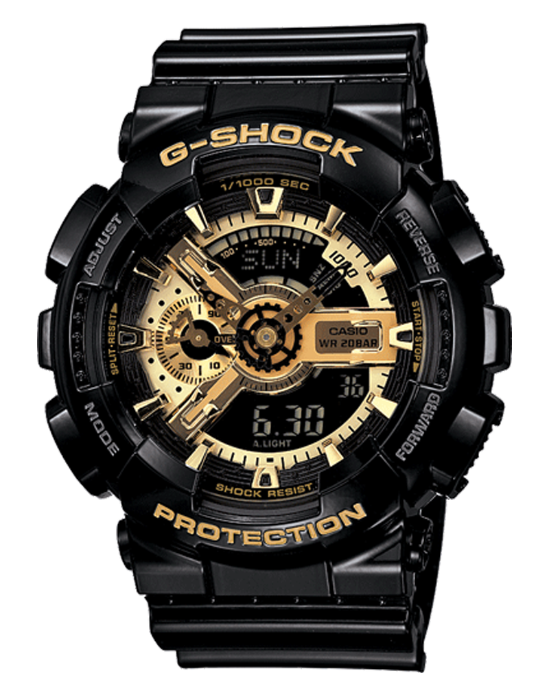 Casio-G-Shock-Mens-Military-GA-110GB-Watch-Black-Gold-One-Size