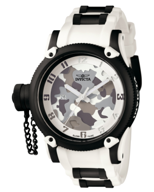 INVICTA-RUSSIAN-DIVER-QUARTZ-WATCH-BLACK-WHITE-CASE-WITH-BLACK,-WHITE-TONE-STAINLESS-STEEL-POLYURETHANE-BAND-1195